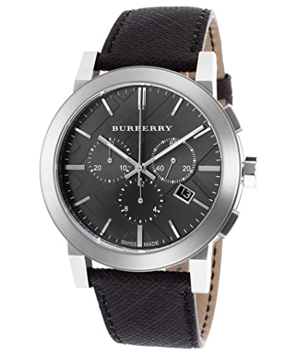 732172485fc7 Burberry Men s The City Chronograph Charcoal Beat Check PVC Gunmetal Dial   Amazon.co.uk  Watches