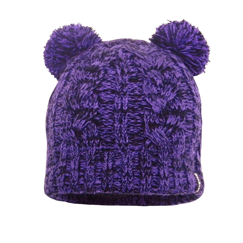 0172f34ec1d Amazon.com  DexShell Waterproof Children s Cable Knit Twin Pompom Beanie  Purple  Clothing