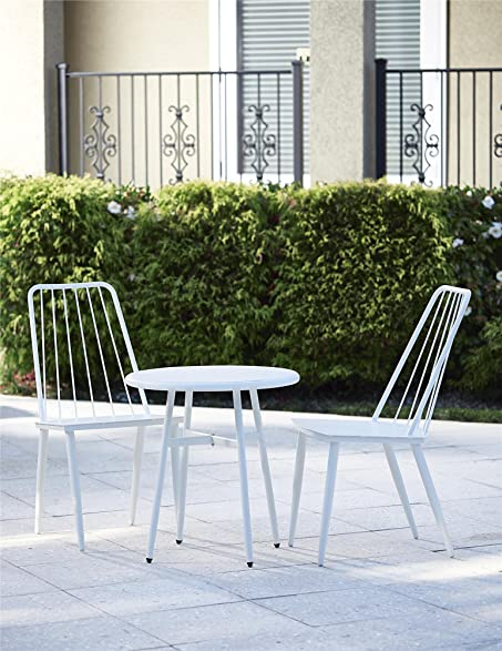 cosco outdoor 3 piece cottage bistro steel patio furniture set white - Garden Furniture Steel