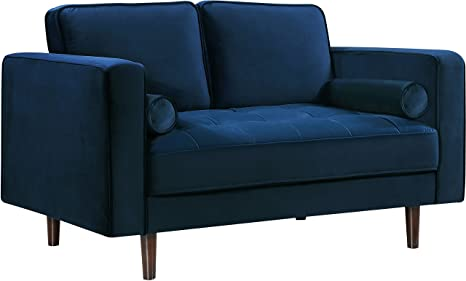 Fine Meridian Furniture 625Navy L Emily Collection Modern Contemporary Navy Velvet Upholstered Loveseat With Luxurious Deep Tufting And Wooden Legs Bralicious Painted Fabric Chair Ideas Braliciousco