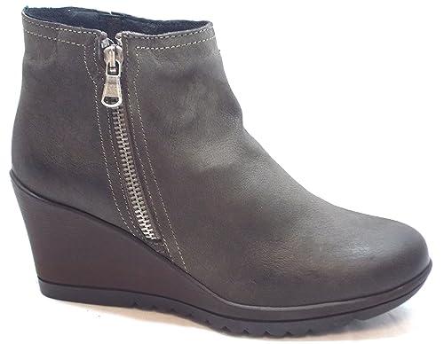 Keys Flex & fly Zapatos Mujer Botines cuña cm 7 Boot Zip Nubuk 7863 CAFFE,