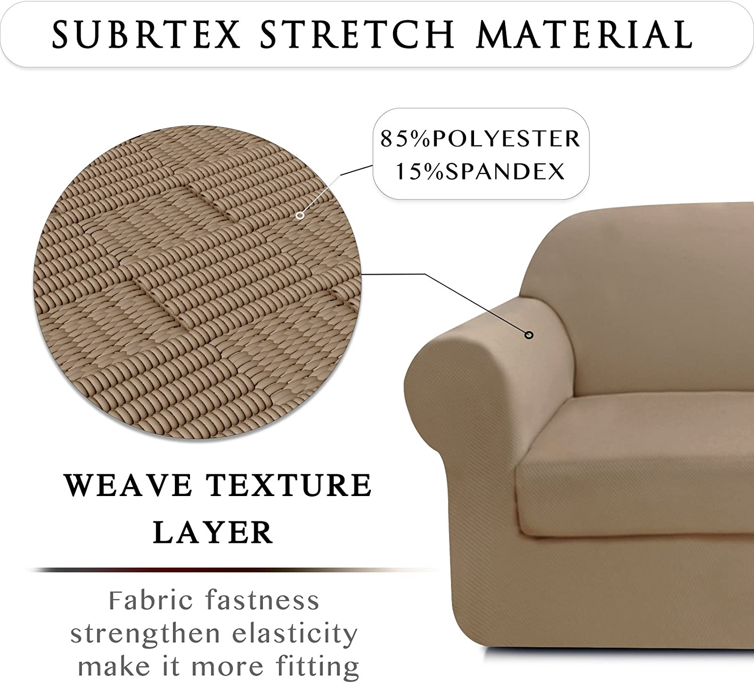 High Spandex Stretch Settee Cover Reusable 1 Seater Cushion Cover Premium Jacquard Fabric Furniture Protector for Sofa Subrtex 1-Piece Stylish Knit Sofa Slipcover
