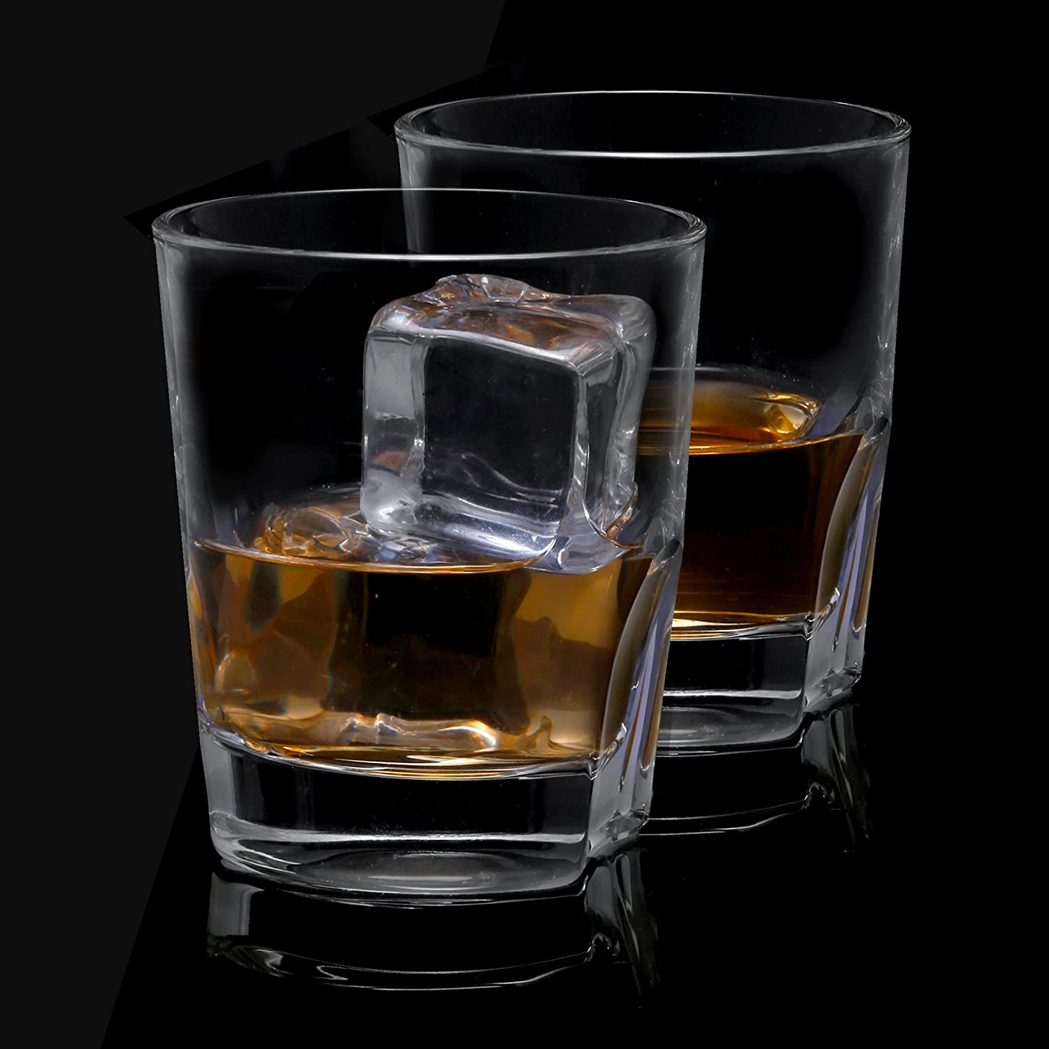 Ultra Clear Crystal Scotch Glass for Bourbon and Liquor Set Of 2 non-leaded crystal Glassware JC102113 JoyJolt Carina Crystal Whiskey Glasses Old Fashioned Whiskey Glass 8.4 Ounce