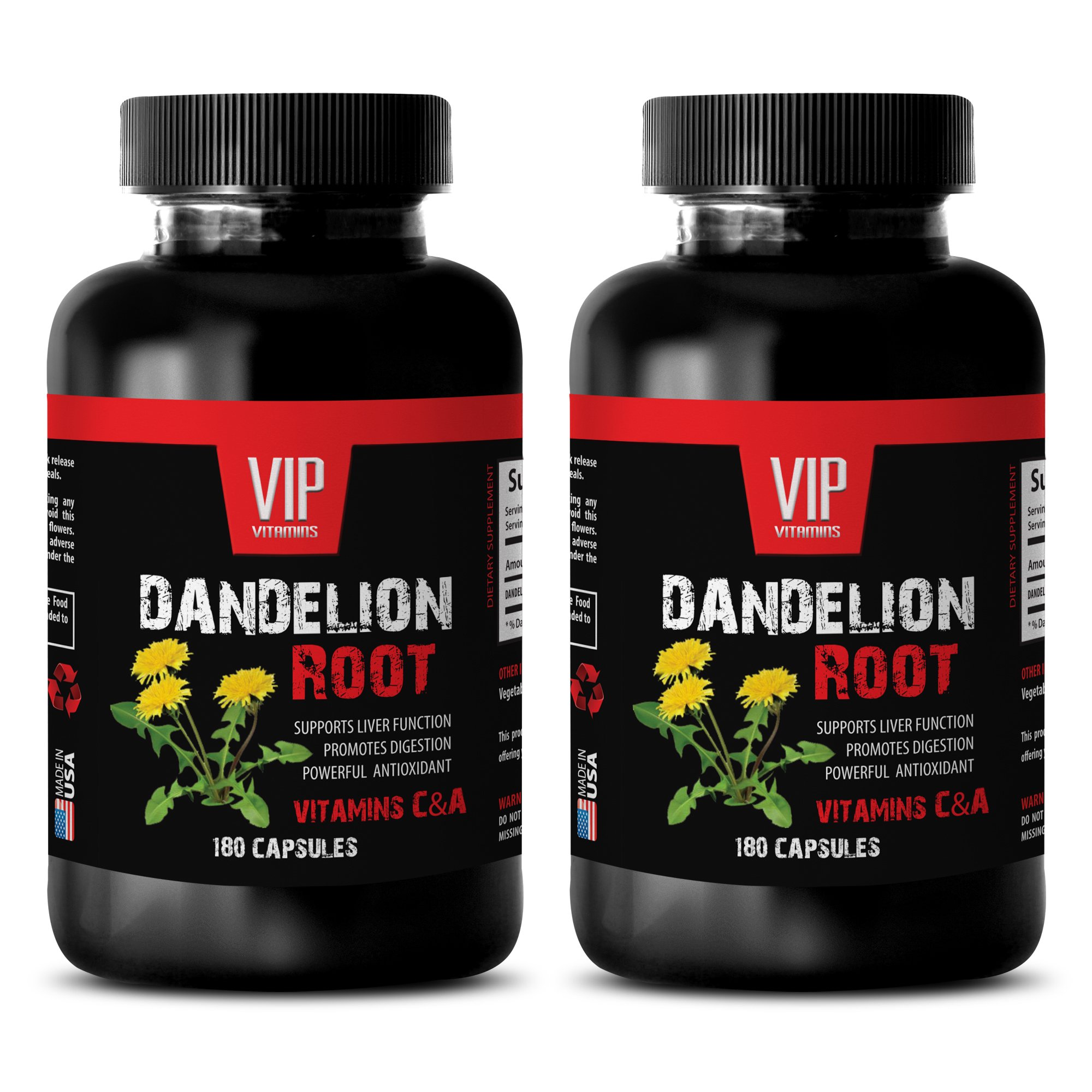 Dandelion pure extract - DANDELION ROOT EXTRACT 520Mg - Bacterial killer - 2 Bottle 360 Capsules