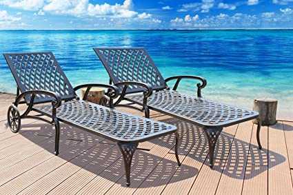 Amazon Com Homefun Chaise Lounge Outdoor Aluminum Wheels Lounges