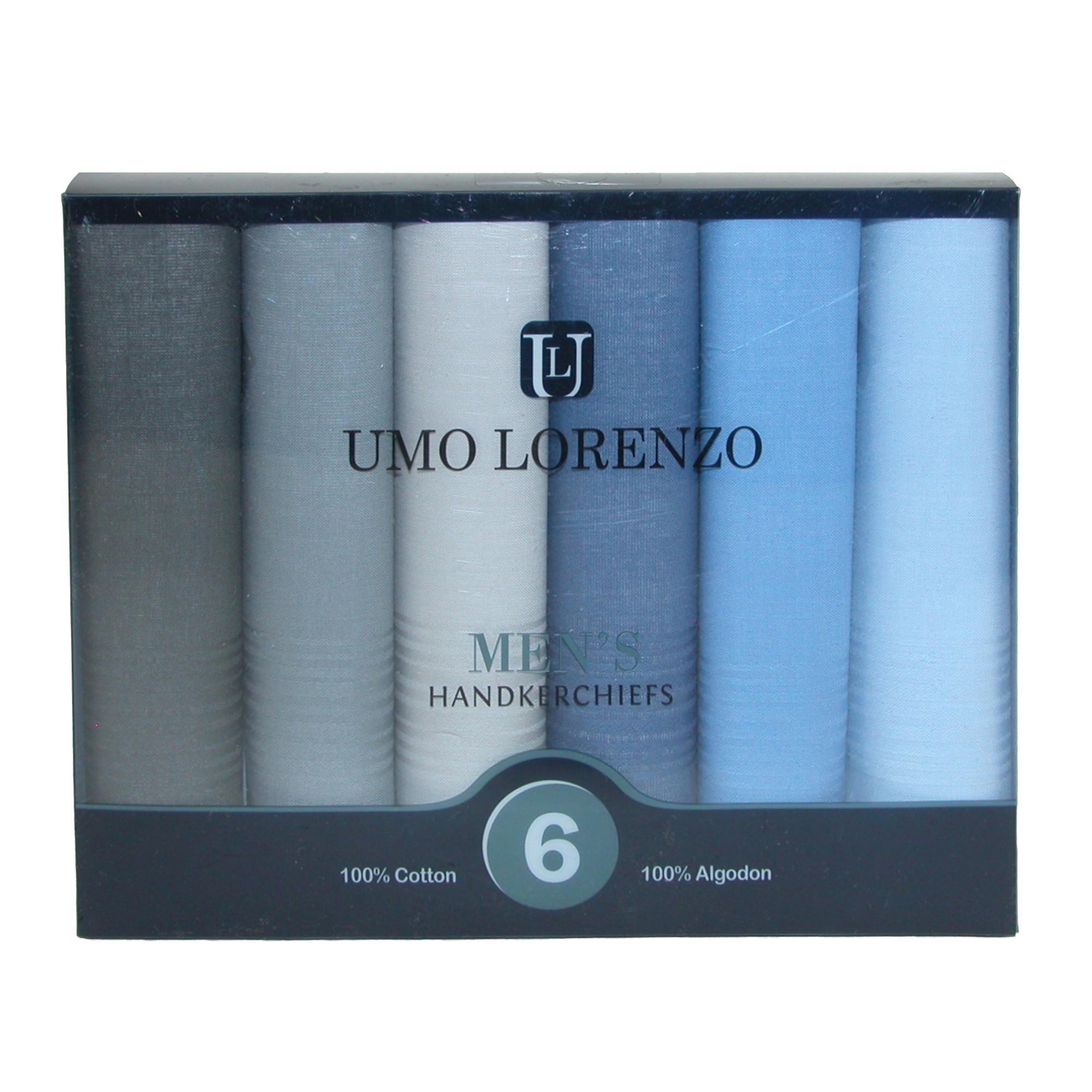 Umo Lorenzo Men's Cotton Multi-Color Dress Handkerchief Set (Pack of 6) by Umo Lorenzo (Image #2)