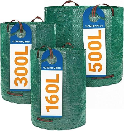 Glorytec Sacos de jardín 3 tamaños Diferentes - 3 Bolsas de jardín Premium – Bolsas para la Basura del jardín estables, Hechas de Tela de Polipropileno Extremadamente Resistente (PP) 150 gsm: Amazon.es: Jardín
