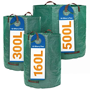 Sacos de jardín GloryTec 3 tamaños diferentes - 3 Bolsas de jardín Premium – Bolsas para la basura del jardín estables, hechas de tela de ...