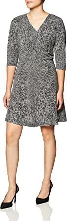Lark & Ro Women's 3/4 Sleeve Faux Wrap Fit and Flare Dress