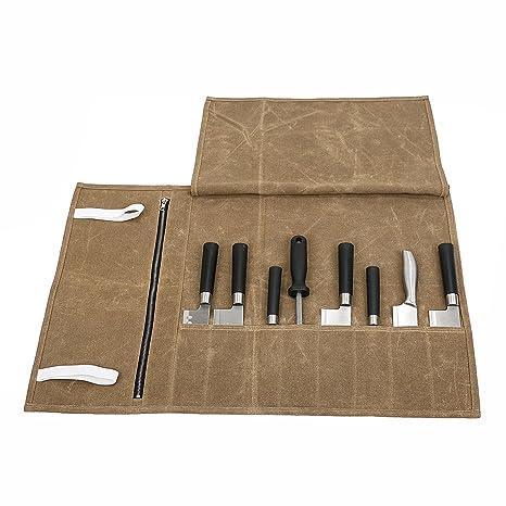 Bolsa de almacenamiento impermeable de lona encerada para cuchillos de cocinero con 8 compartimentos de viaje
