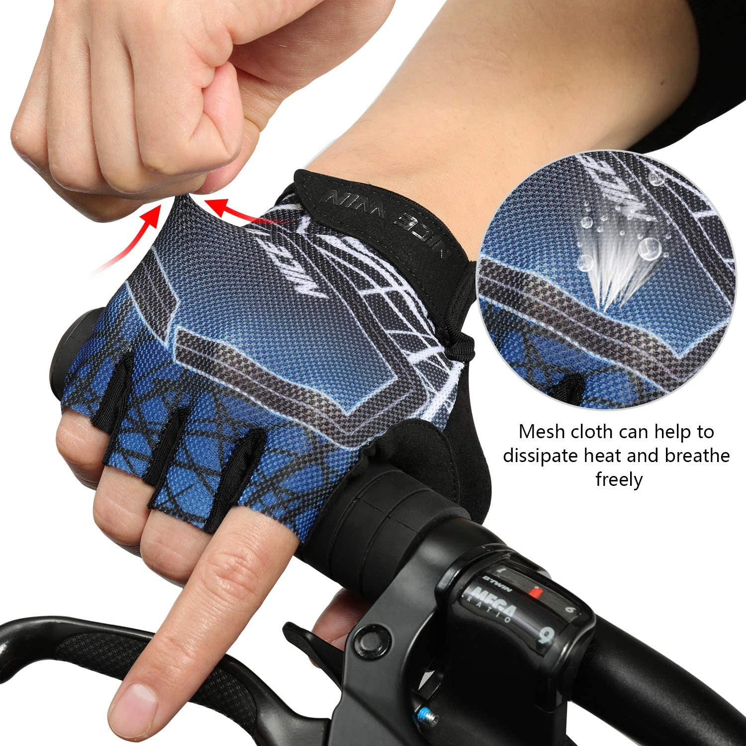 NICEWIN Fingerless Cycling Gloves for Men Women Mountain Road Bike Motorcycle with Non-Slip Shockproof Pad Gradient Color Design
