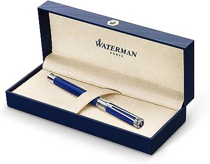 Waterman Perspective - Rotulador roller, color azul brillante con adorno cromado, punta fina con cartucho de tinta negra, estuche de regalo: Amazon.es: Oficina y papelería