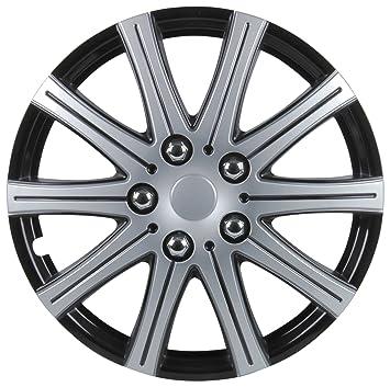 Unitec 75170 Adelaide - Tapacubos (4 unidades, 35,6 cm, 14), color negro y plateado