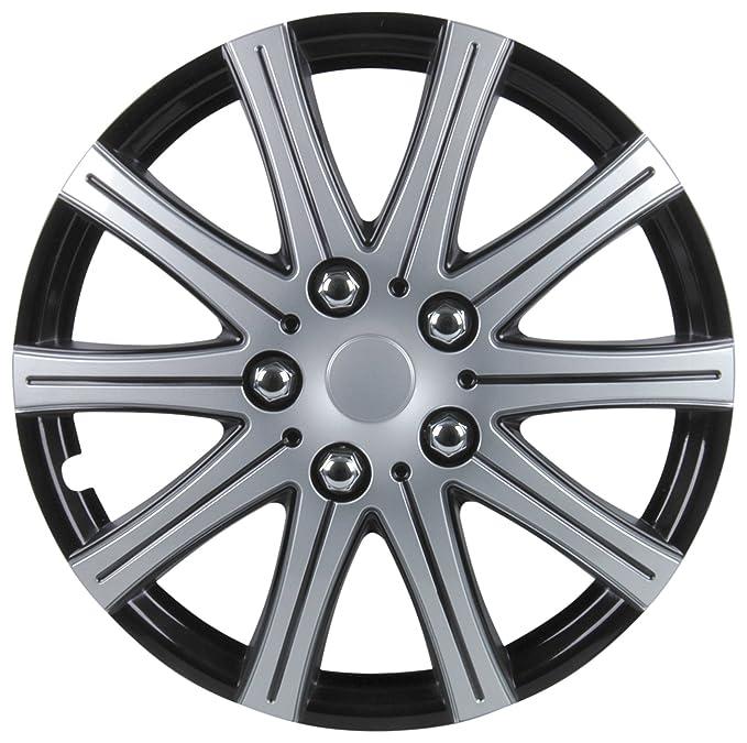 Car Wheel Trims Set of 4 Unitec 74854 Hockenheim Hub Caps in 100 /% ABS 4 Set 17 inch Silver