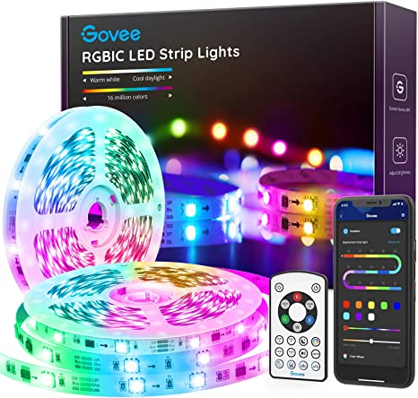 Govee 16.4FT Bluetooth Color Changing Rainbow Lights, LED Strip Lights RGBIC