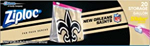 Ziploc Slider Storage Gallon Bag, Great for Grab-and-go Snacking, Tailgating or homegating, 20 Count- NFL New Orleans Saints