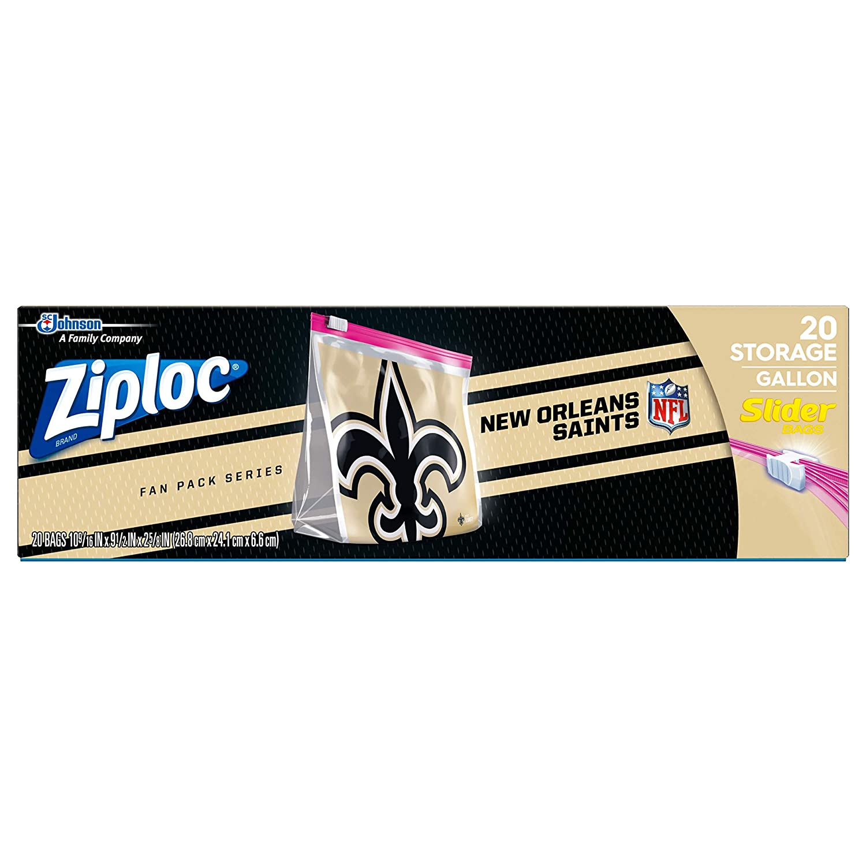 Ziploc Brand NFL New Orleans Saints Slider Gallon, 20 ct