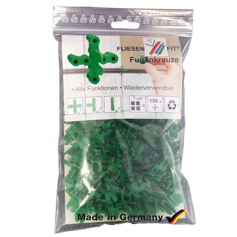 150 Stück Fliesenkreuze Fliesen Fit® wiederverwendbar 2 mm Fugenkreuze Fliesenkreuz Fugenkreuz 3 in 1 HSK-Schulte GmbH