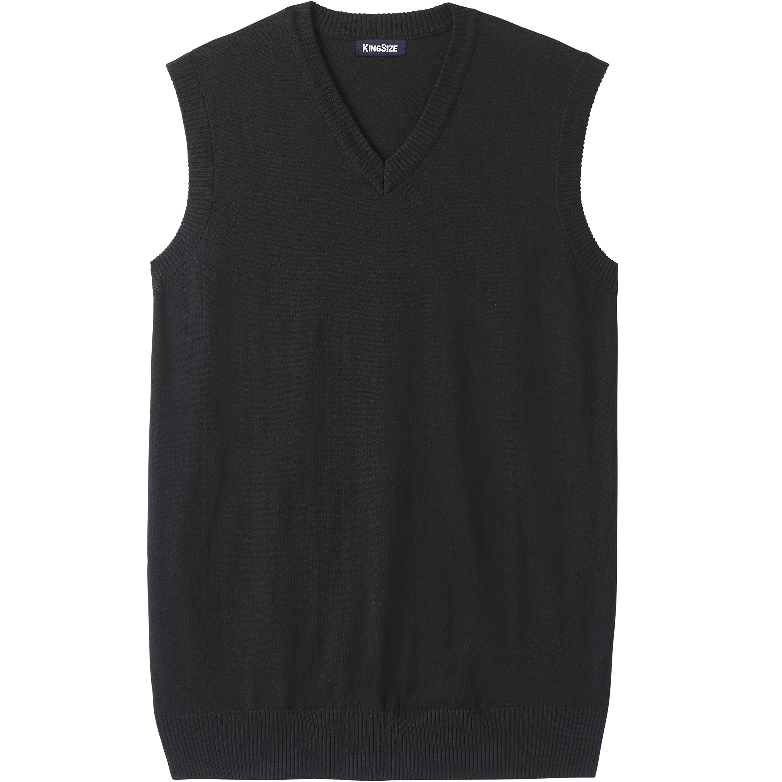 KingSize Men's Big & Tall Lightweight V-Neck Sweater Vest, Black Tall-5XL by KingSize