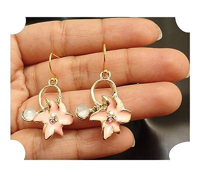 39f05e0439a27 ej handmade dangle earring,gold tone peach enamel opal crystal daisy flower  charm drop earring for women and girl size -25x15mm