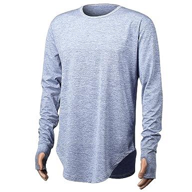 PrettyChic Men s Long Sleeve T Shirt Plain Cotton Cool Hip Hop Crew Neck Tee  Shirts a73f910b410