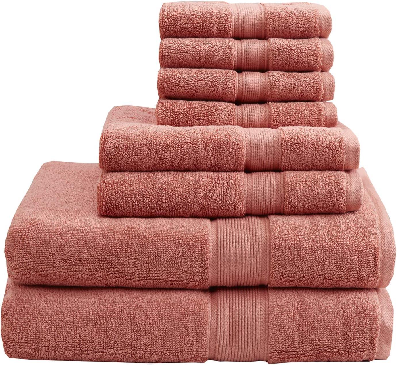 MADISON PARK SIGNATURE MPS73-195 800GSM 100% Cotton 8 Piece Towel Set Coral See Below