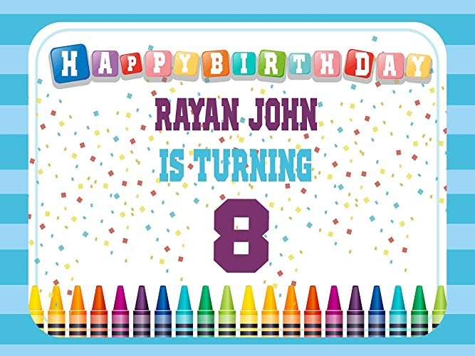 Amazon Com Custom Home Decor Crayon Birthday Banner Size 24x36