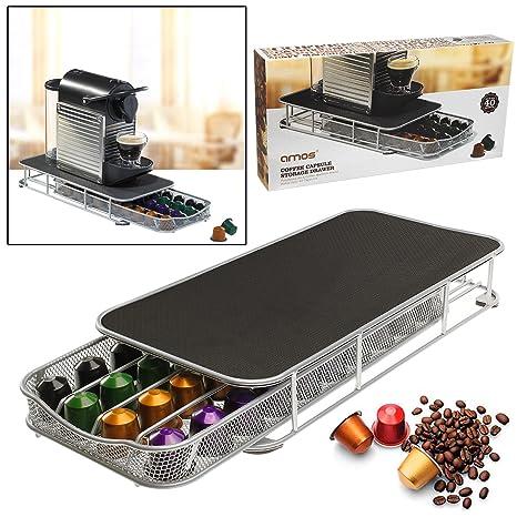 AMOS Cajón para 40 Cápsulas de Café Nespresso Dispensador Porta Organizador Estante Soporte de Máquina de
