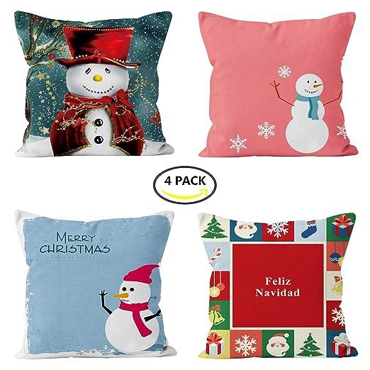 4 unidades de Navidad fundas de almohada de impresión de ...