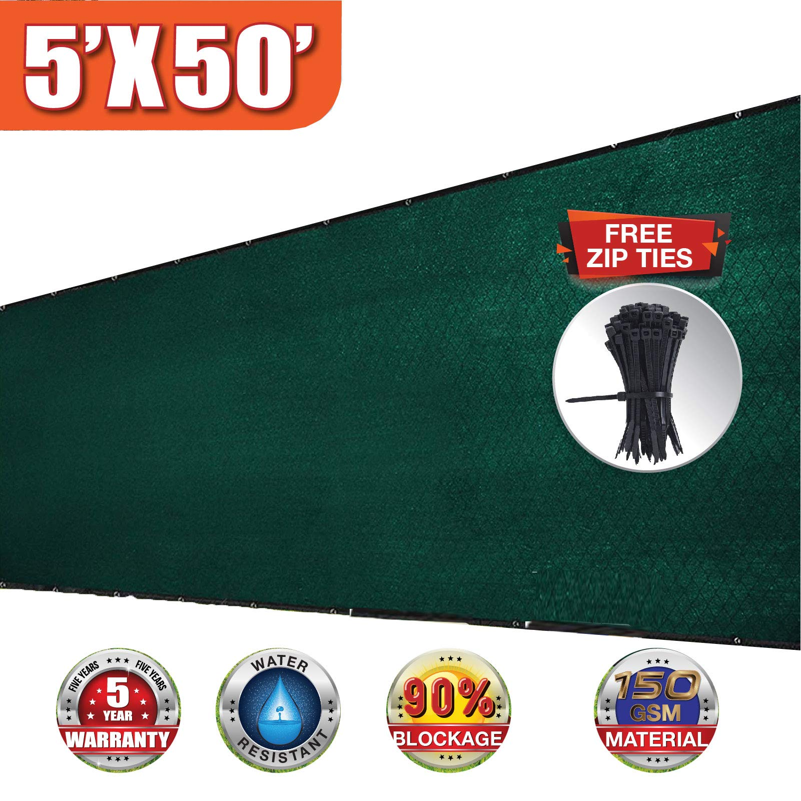 EVERGROW 5' x 50' Dark Green Privacy Fence Screen with Brass Grommets Heavy Duty 150 GSM Pefect for Outdoor Back Yard and Deck, Free Zip Ties, 90% UV Blockage 5 feet x 50 feet Green by EVERGROW