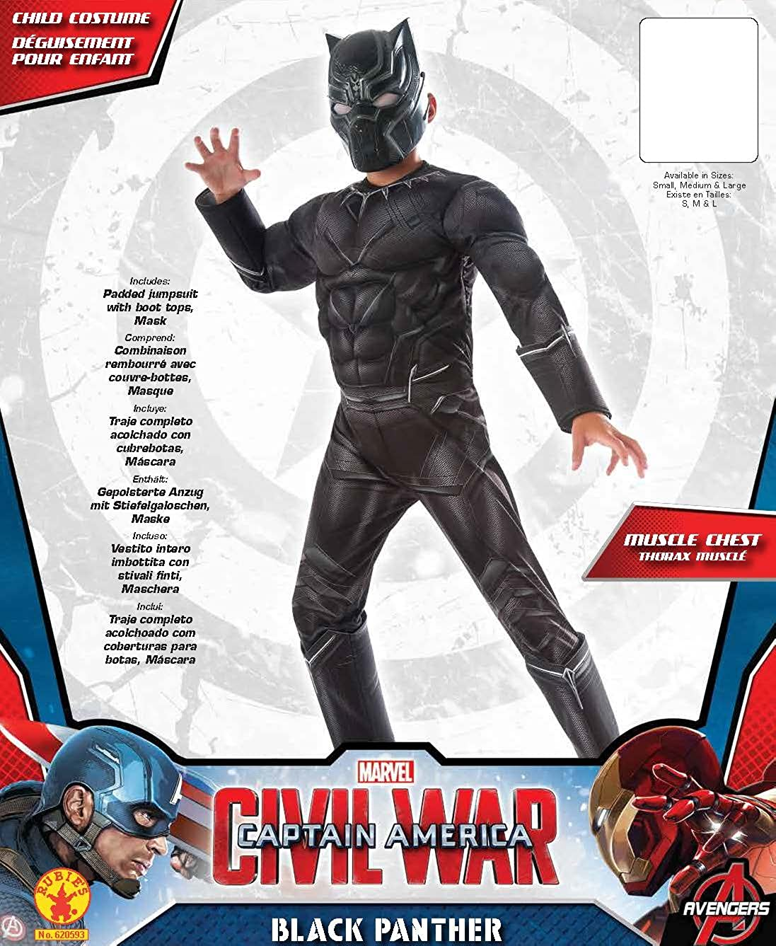 Black Panther Deluxe Mens Muscle Chest Costume