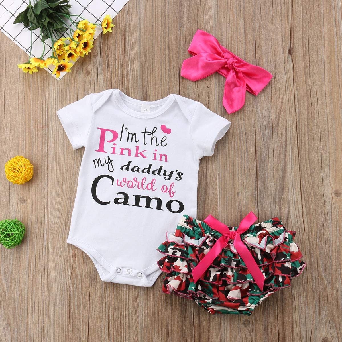 West Sweety 3Pcs Adorable Baby Girls Letter Print Romper Camo Short Bow Pink Headband