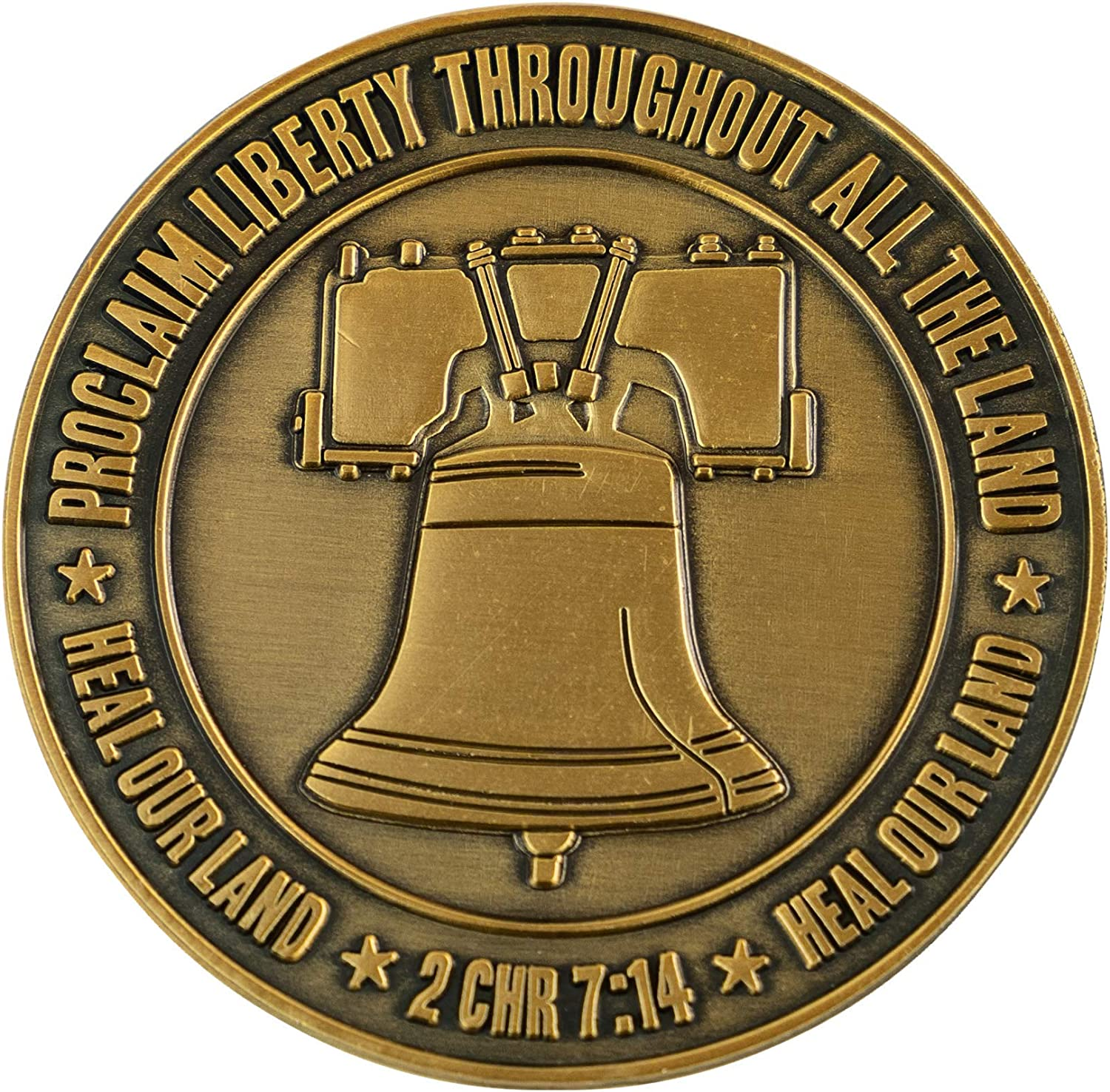 Pledge of Allegiance Coin, Liberty Bell & American Flag Patriotic Military Challenge Coin, Heal Our Land, Freedom Christian Religious Antique Gold Plated Prayer Token Gift