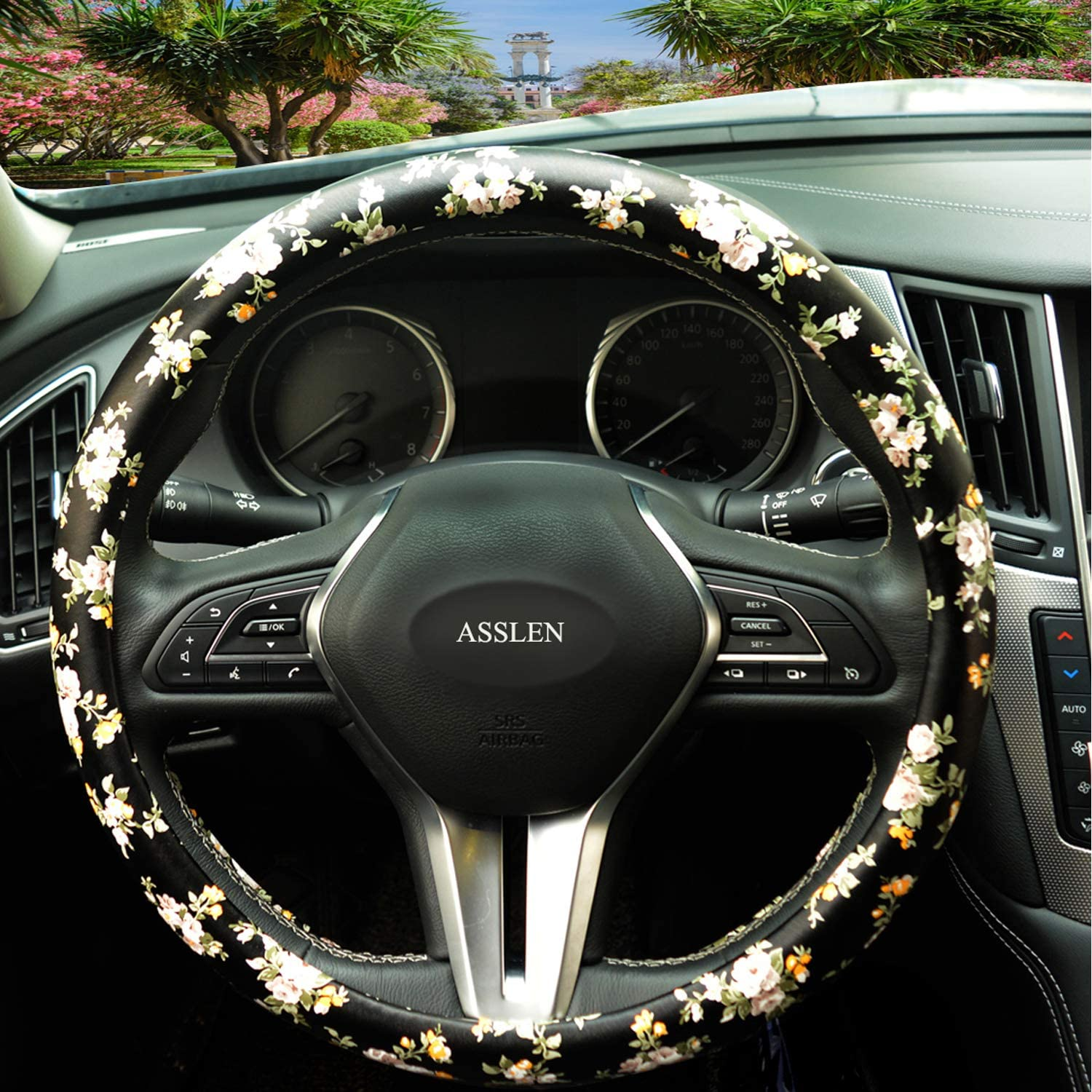 Rose Style, 141//2-151//4 Floral Auto Car Steering Wheel Cover Microfiber Leather Anti Slip and Sweat Absorption Chinese Style Universal 15 Inch