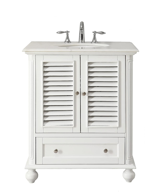 Daleville 34 inch vanity hf081wp distressed cream - 30 Cottage Look White Keysville Bathroom Sink Vanity Model Gd 1087w Amazon Com