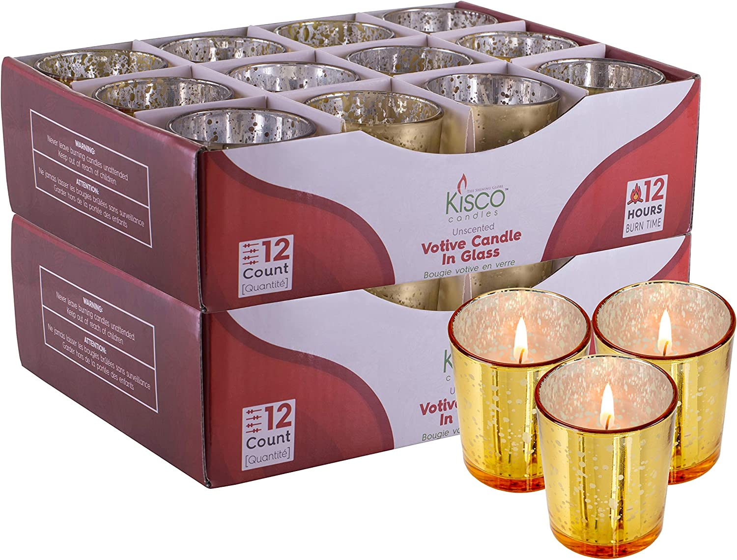 KISCO CANDLES Votive Candles with Holders 24-Pack 12 Hour Gold Decorative Glass Home Decor, Beautiful Living Room, Kitchen, Bathroom Lighting   Long-Lasting Wax