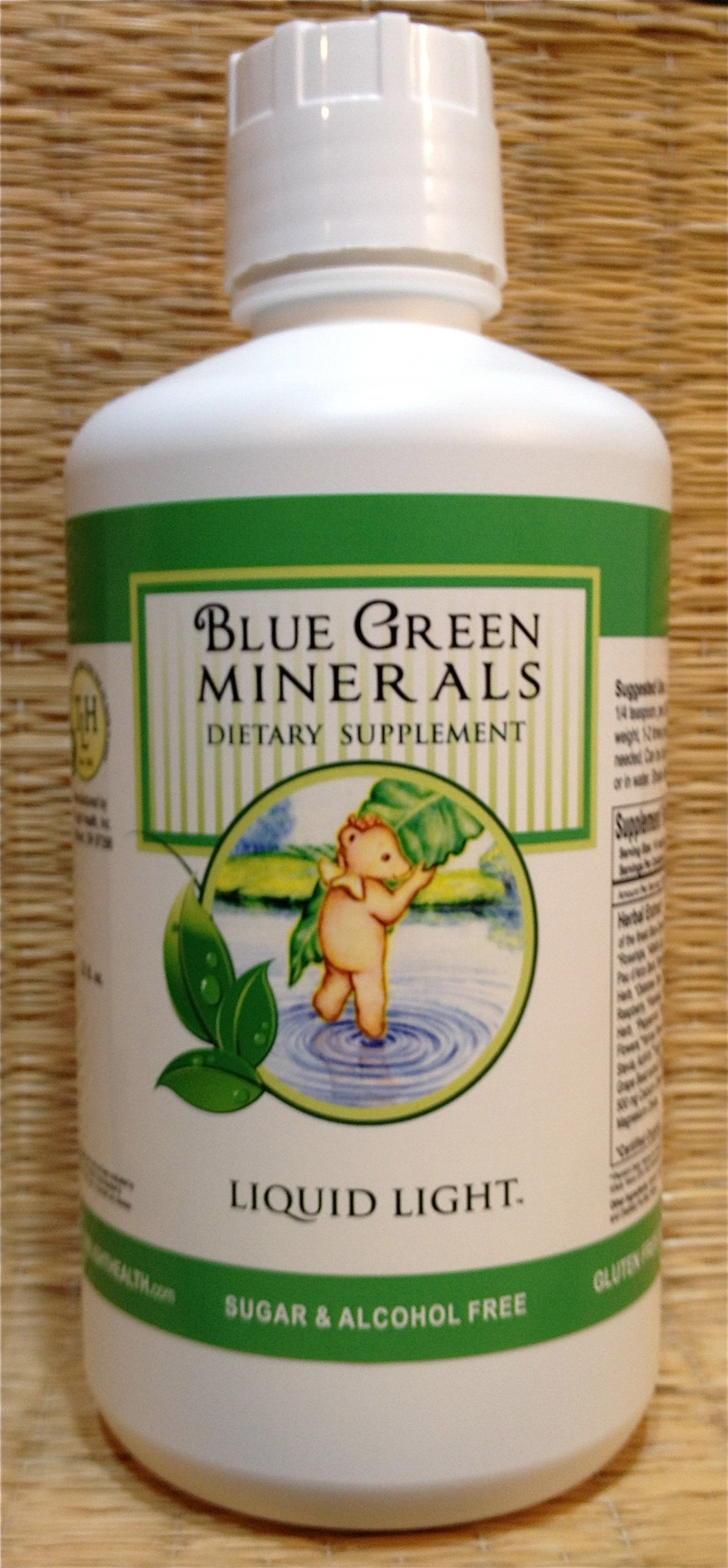 Blue Green Minerals with Calcium and Magnesium (32 oz Bottle) - Multi Mineral Supplement. BVO Free, Caffeine Free.