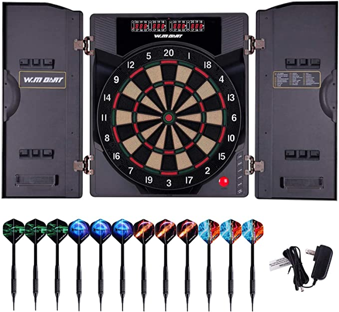 WIN.MAX Electronic Soft Tip Dartboard Set with Cabinet - ​Best Old-school Arcade Design