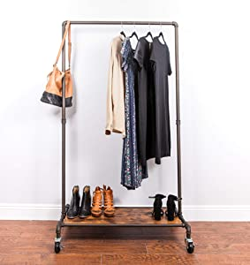 Real Home Innovations Modern Industrial Style Garment Rack with Wood Shelf, Satin Pewter