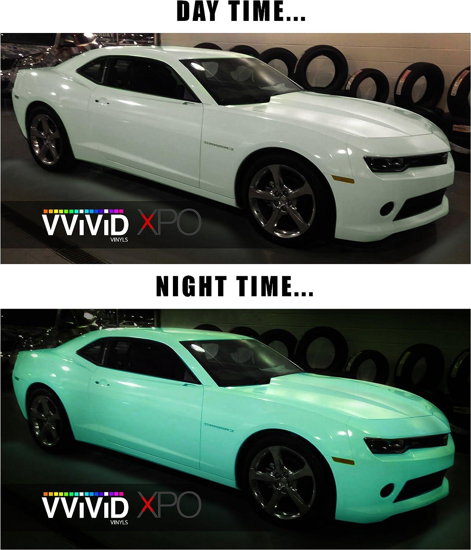 Glow in the dark blue green car wrap vinyl 10ft x 5ft VViViD XPO air free decal