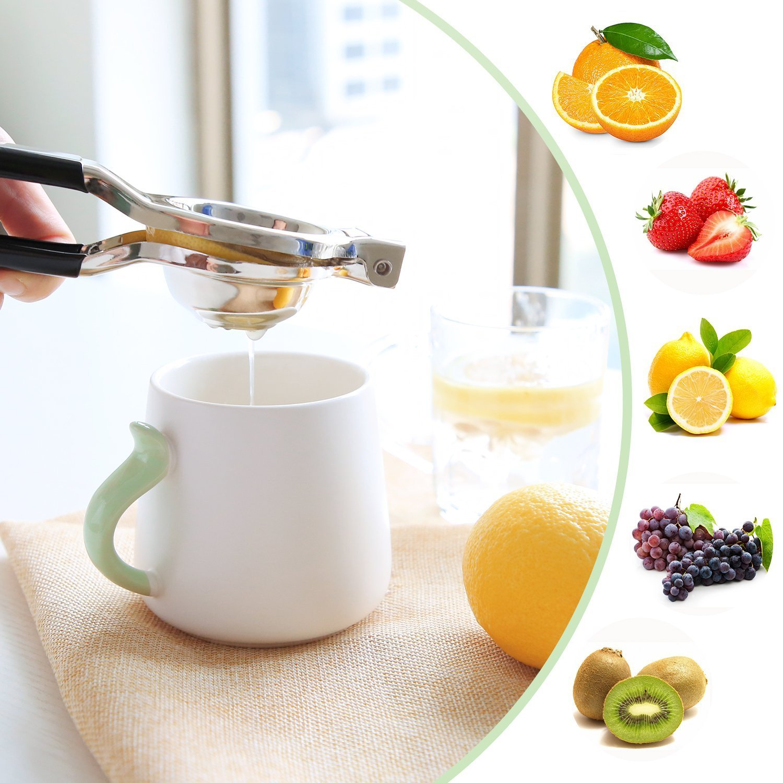 Compra SAVORLIVING Exprimidor de Acero Inoxidable con Mango Suave Manual limón Lima cítricos Prensa Negro TPR-Resina, 20 cm x 6, 5 cm x 3 cm en Amazon.es