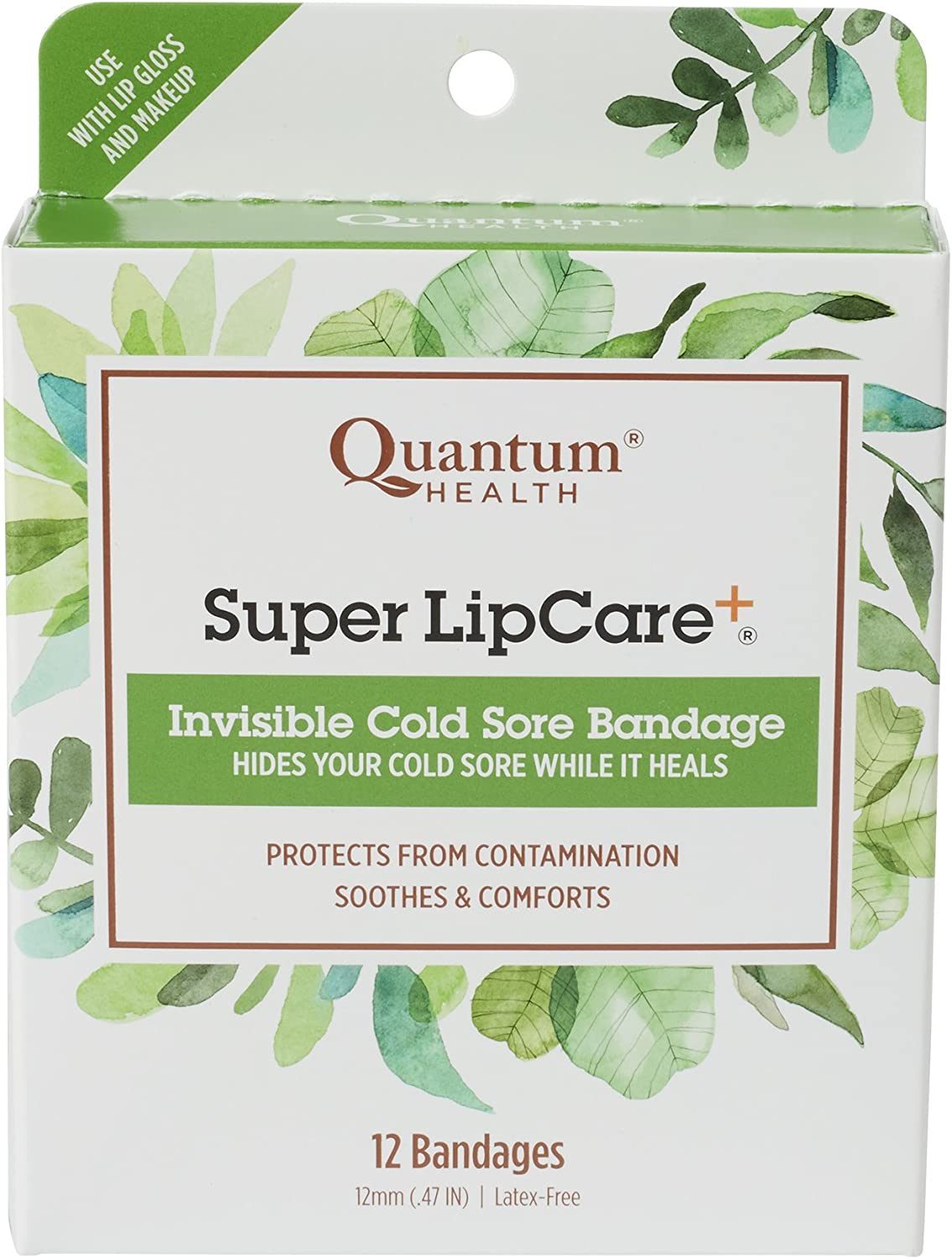 Quantum Health Super LipCare+ Invisible Cold Sore/Fever Blister Bandages - Soothes and Protects, Helps Prevent Contamination and Hide Sores, 12 Ct: Health & Personal Care