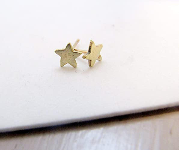 e30b0bfeb Image Unavailable. Image not available for. Color: Tiny Solid Gold Boho Star  Stud Earrings ...