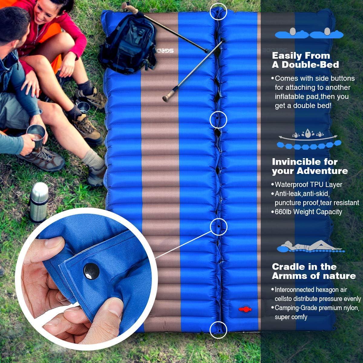 SGODDE Isomatte Camping Selbstaufblasbare,Handpresse Aufblasbare,leichte Rucksackmatte f/ür Wanderungen zum Wandern auf Reisen,langlebige wasserdichte Luftmatratze kompakte Wandermatte