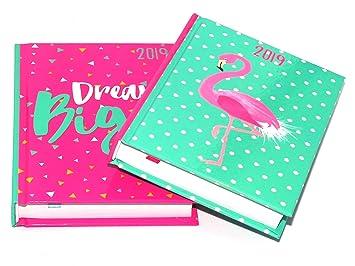 1 agenda 2019 A6 de día a página, tapa dura, diseño al azar ...