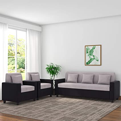 Sensational Adorn Homez Optima Budget 5 Seater Sofa Set 3 1 1 For Living Room Black And Grey Unemploymentrelief Wooden Chair Designs For Living Room Unemploymentrelieforg