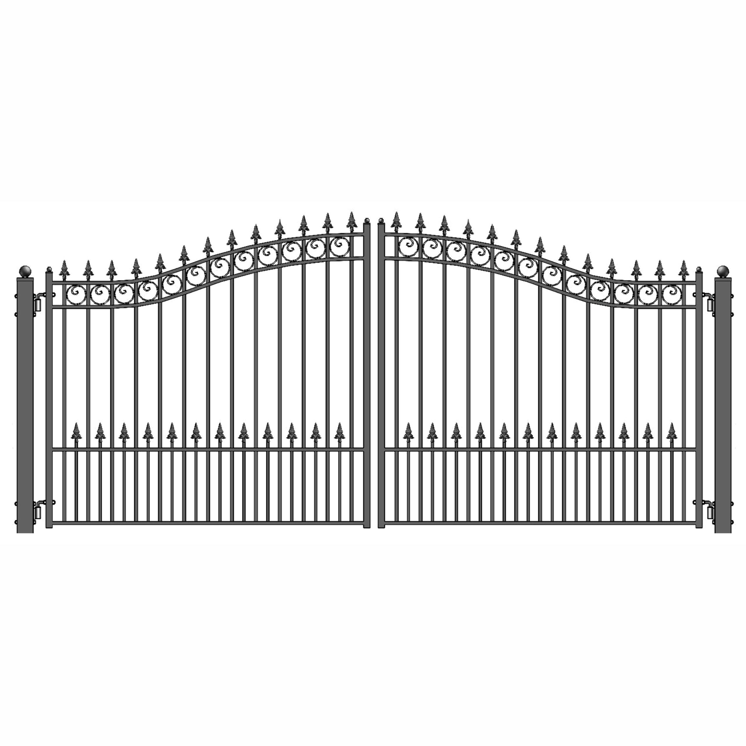 ALEKO Prague Style Iron Wrought Gate 18' Driveway Gates Ornamental Dual Swing Gates 18'