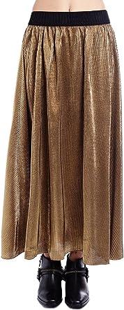 Q2 Mujer Falda larga metalizada dorada - XS - Dorado: Amazon.es ...