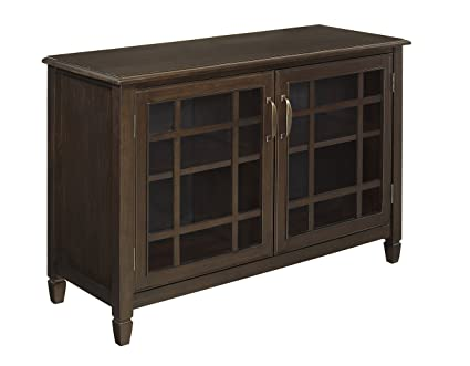 Simpli Home Connaught Solid Wood Low Storage Cabinet, Dark Chestnut Brown