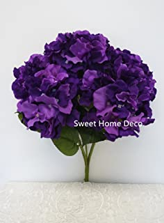 Amazon raylinedo pack of 1pcs artificial dark purple hydrangea sweet home deco 18 super soft silk hydrangea artificial flower bouquet 5 stem mightylinksfo